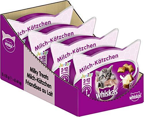 Whiskas Junior Milchkätzchen Katzensnacks für junge Katzen, 8 Packungen (8 x...