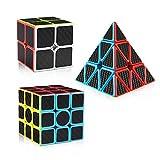 D-FantiX Carbon Fiber 2x2 3x3 Pyramid Speed Cube Bundle, 2by2 3by3 Pyramid Speed Cubes Set Magic Cube Puzzle Toys for Kids