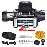 AC-DK 13500 lb Waterproof IP67 Electric Winch,12V Winch Steel Cable Electric Winch Truck Winch with 2 Wireless Handheld Remotes and Wired Handle (Black 13500-Steel Cable)