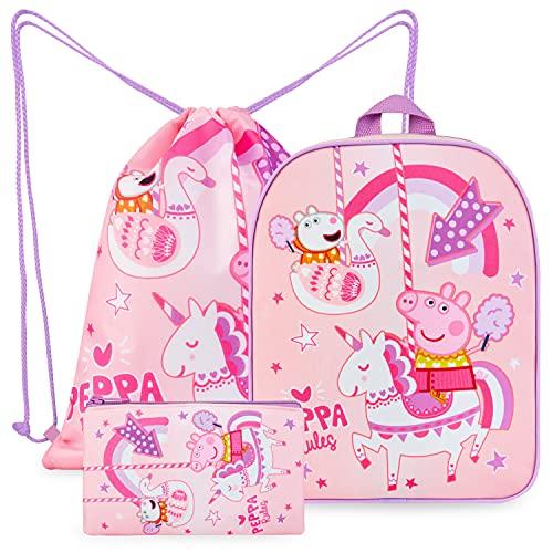 Peppa Pig Mochila Escolar Niña, Material Escolar, Set de Mochila Niña, Mochila Cuerdas y Estuche Niña