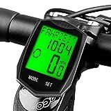 DINOKA Ordinateur de vélo, Ordinateur de vélo sans fil étanche Compteur de vitesse pour vélo Compteur kilométrique rétroéclairage LCD Affichage Suivi de la distance Vitesse Temps 5 Langue Réversible