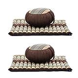Leewadee Juego de 2 Set de meditación: Almohada Redonda de Zafu y cojín de Suelo Cuadrado Grande de Zabuton Orgánico Naturalmente Ecológico, Capok, marrón