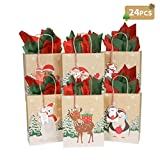 OurWarm 24Pcs Kraft Christmas Gift Bags, Holiday Gift Bags with Christmas Tags, Paper Treat Bags Goody Bags for Christmas Party Favors,9 x 7 x 3.5 Inch
