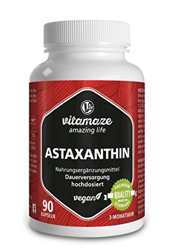 Astaxanthin Kapseln hochdosiert & vegan, 4 mg natürliches Astaxanthin Pulver aus der Blutregenalge, 90 Kapseln für 3 Monate, Pflanzliche Nahrungsergänzung ohne Zusatzstoffe