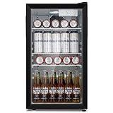 Antarctic Star Beverage Refrigerator Cooler - 100 Can Mini Fridge Glass Door for Soda Beer or Wine – Glass Door Small Drink Dispenser Machine 32°F- 61°F Adjustable Home, Office Bar, 3.2cu.ft.
