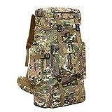 70L Outdoor Mountaineering Bag, Randonnée Tactique Camouflage Sac À Dos...