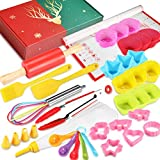 Shacoryze Kids Cooking and Baking Set 37 Pcs with Gift Case, Real Kitchen Utensils Kit for Toddlers Teens, Gift for Girls&Boys, Nonstick Rolling Pin Silicone Pastry Mat Cupcake Molds …