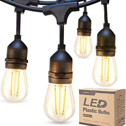 addlon LED Outdoor String Lights 48FT with 2W Dimmable Edison Vintage Plastic Bulbs and Commerc…