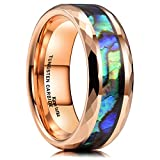King Will 8mm Men Rose Gold Tungsten Carbide Wedding Ring Inlaid Shell High Polished 10.5