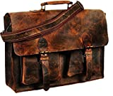 Messenger Bag Retro Buffalo Hunter Leather Laptop Messenger Bag Office Briefcase College 16 INCH by Vintage Couture (Dark Brown) (Brown 1)