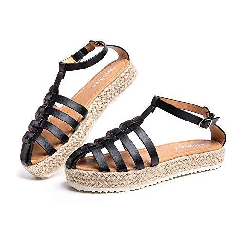Sandalias Mujer Verano Plataforma Alpargatas Cuña Comodas Zapatos de Vestir Tacón Hebilla Tobillo Cerrado Negro-7 43 EU