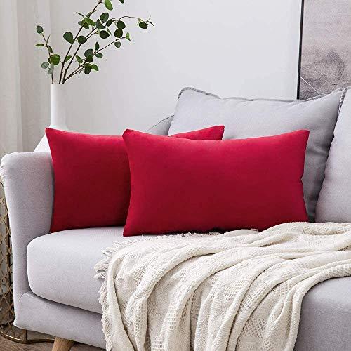 MIULEE Confezione da 2 Federe in Velluto Copricuscini Decorativi Fodere Quadrate per Cuscino per Divano Camera da Letto Casa30X50cm Rosso brillante