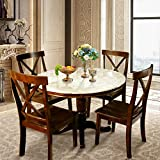 Harper & Bright Designs Dining Table Set - 5 Piece Round Dining Set with 4 Chairs Wood Dining Table Set