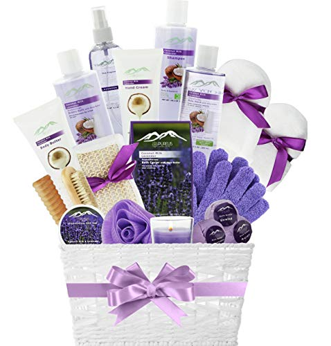 Spa Gift Basket for Women! Top Rated Beauty Gift Basket Spa Basket, Choose Lavender Spa Kit Bed and Bath Body Works Gift Baskets for Women! Bath Gift Set Bubble Bath Basket Body Lotion Gift Set.