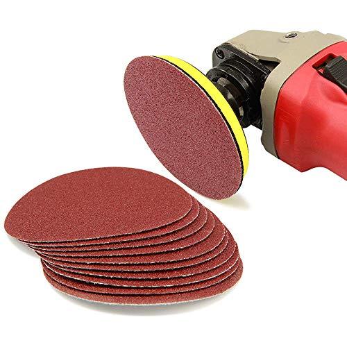 Haploon 100-Pack 5 inch Aluminum Oxide Sanding Discs,10 Pieces Aluminium Oxide Sander Disc (80/100/180/240/400/600/800/1000/1500/2000 Grits)