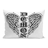 Semtomn Throw Pillow Covers Angel Abstract Black and White Wings Inscription Demon in The Gothic for Tattoo Devil Pillow Case Cushion Cover Lumbar Pillowcase for Couch Sofa 20 x 36 inchs