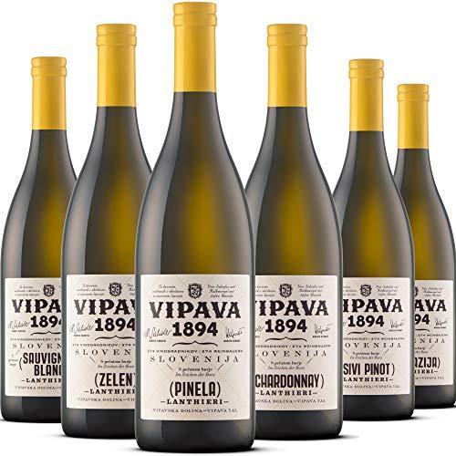 VIPAVA 1894 Pacchetto degustazione vini bianchi: vini Lanthieri (Zelen, Pinela, Sauvignon, Chardonnay, Pinot Grigio, Malvasia), degustazione vini bianchi, vino di qualit - ZGP (6x 0,75L)