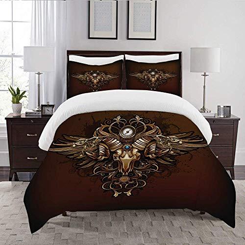 332 BONIFUXI Soft & Durable Duvet Cover Set-Bedding,steampunk vintage pentagram,Quilt Cover Bedlinen-Microfibre 140×200CM with 2 Pillowcase 50×80CM