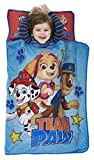 Paw Patrol Team Paw Toddler Nap Mat - Includes Pillow & Fleece Blanket – Great for Boys and Girls Napping at Daycare, Preschool, Or Kindergarten - Fits Sleeping Toddlers and Young Children