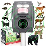 DURANOM Ultrasonic Wild Animal Repeller - Cat Deer Repellent Outdoor Solar - Motion Strobe Light Pest Deterrent (Military Grey)
