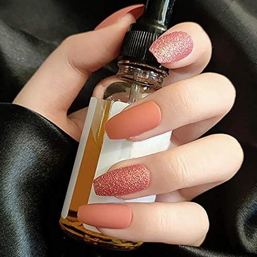 Sethexy Matte Ballerina False Nail Coffin Medium Glitter Fake Nails Pumpkin Bling Press on Nails 24Pcs Acrylic Art Nail Tips for Women and Girls