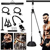 Fitness LAT and Lift Pulley System - Dual Cable Machine with Weight Plates, Loading Pin for Exercise Equipment, Biceps Curl, Back, Gym Equipment for Home