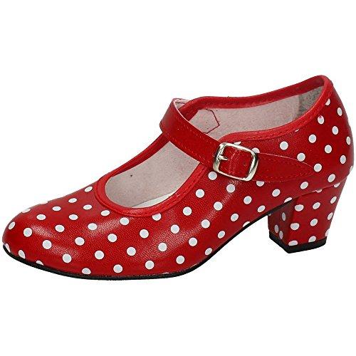 MADE IN SPAIN 17 SEVILLANAS FLAMENCOS NIÑA Zapatos TACÓN Rojo 27