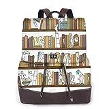 Yuanmeiju Womens Rucksack Backpack Cute Funny Pug Reading Magazine, What? Shoulder Schoolbag Leather Casual Bag Girls