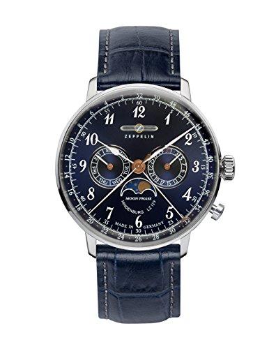 Zeppelin Unisex Chronograph Quarz Uhr mit Leder Armband 7036-3