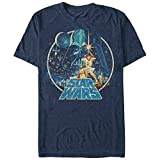 Star Wars Men's Vintage Victory Graphic T-Shirt, Navy Heather, 3XL