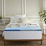 Sleep Innovations 3-inch Memory Foam Mattress Topper, King, Blue Gel Swirl
