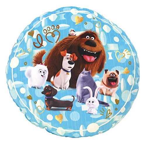 Fun House 712709-Cojín Redondo, diseño de la película Mascotas, 37x 12x 37cm, Color Azul
