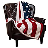 Chanasya Patriotic US Flag Print Sherpa Throw Blanket - Lightweight Microfiber for Couch Bed and...