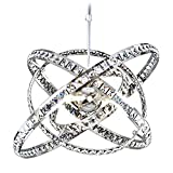 MEEROSEE Crystal Chandeliers Modern Sphere Orb Chandelier Globe Cage Round Pendant Lights Fixtures Lighting Dining Room Contemporary Ceiling Light Adjustable Shape DIY Design D23.6 inches