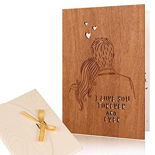 Creawoo handgefertigte Holz Liebe Grußkarte, I Love You Forever & Ever Holz Jahrestag, Geburtstags,...