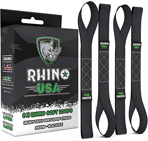RHINO USA Soft Loops Motorcycle Tie Down Straps (4pk) - 10,427lb Max Break Strength 1.7 x 17 Heavy Duty Tie Downs for use with Ratchet Strap - Secure Trailering of Motorcycles, Kayak, Jeep, ATV, UTV