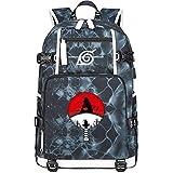 GOYING Uzumaki Naruto/Uchiha Itachi/Sharingan Anime Cosplay Bookbag College Bag Mochila Mochila Escolar con Puerto de Carga USB-F