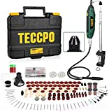 Upgraded Rotary Tool TECCPO 1.8 amp, 10000-40000RPM, 6 Variable Speed with 6 Attachments, Universal Keyless Chuck, 196 Accessories Ideal for Crafting and DIY