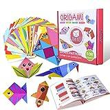 Gamenote color kit de origami para niños 118 archivo de origami vívido de doble cara 55 páginas que enseña libro de origami, adecuado para niños / clase de manualidades escolares