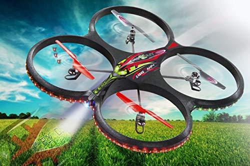 Jamara 038540 - Elicottero Radiocomandato Flyscout Ahp+ Quadrocopter Komp/LED/Kamera, Nero