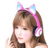 Fone de ouvido com orelhinhas de gato com iluminação led pisca p2 - rosa