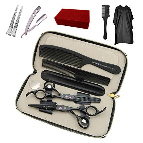 JIESENYU forbici per capelli forbici per parrucchieri professionali da 6 pollici che tagliano il kit di forbici per sfoltire con astuccio, pettine, rasoio