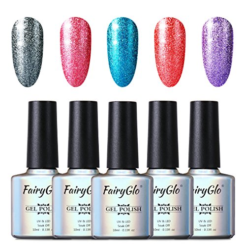 FairyGlo 5 Color Combo Platinum Gel Nail Polish UV LED Soak Off Manicure Nail Art Set Exclusive Beauty Wearing Collection New Series Base Top 10ml C58020