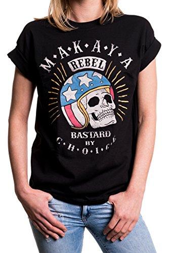 MAKAYA Vintage Top Talla Grande Manga Corta - Calavera con Casco - Camiseta Moto para Mujer con Mensaje Negro L