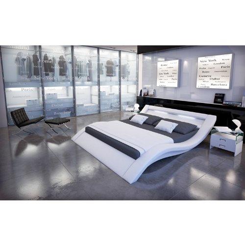 SalesFever Polster-Bett 140x200 cm weiß aus Kunstleder mit LED-Beleuchtung | Kool | Das Kunstleder-Bett ist EIN Designer-Bett | Doppel-Betten 140 cm x 200 cm in Kunstleder, Made in EU