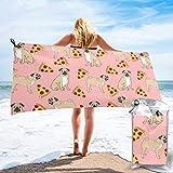 Lawenp Toalla de Playa de Secado rápido, Pug Pizza, Rosa, Microfibra Estampada, Toallas de baño Ligeras, súper absorbentes para niños y Adultos, 31.5 'X63'