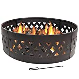 Sunnydaze Crossweave Fire Pit Campfire Ring - Large Outdoor Heavy Duty Metal Round Wood Burning Firepit with Fire Poker - 36 Inch