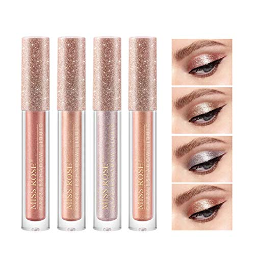 Sombras De Ojos Brillantes Líquida Con De 4 Colores Brillo Metálico Duradero Resistente...