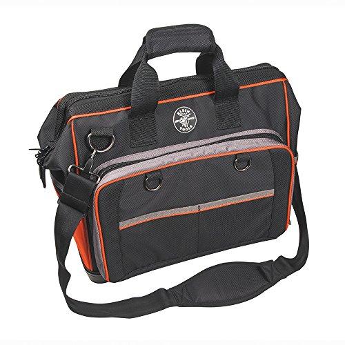 17-1/2' Electricians Tool Bag, 78 Pockets, Black/Orange