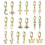 AIDSOTOU 9 Pairs Small Gold Butterfly Star Hoop Earrings Set for Women Girls Mini Huggie Hoop...